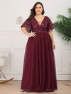 Plus Size V-Neck Ruffle Sleeve Embroidery Tulle Bridesmaid Dress-Burgundy 9