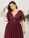 Plus Size V-Neck Ruffle Sleeve Embroidery Tulle Bridesmaid Dress-Burgundy 10