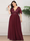 Plus Size V-Neck Ruffle Sleeve Embroidery Tulle Bridesmaid Dress-Burgundy 6
