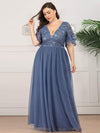 V-Neck Ruffle Sleeve Embroidery Tulle Bridesmaid Dress-Dusty Navy 6