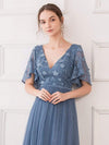 V-Neck Ruffle Sleeve Embroidery Tulle Bridesmaid Dress-Dusty Navy 5