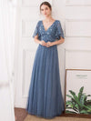 V-Neck Ruffle Sleeve Embroidery Tulle Bridesmaid Dress-Dusty Navy 1