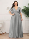 Plus Size V-Neck Ruffle Sleeve Embroidery Tulle Bridesmaid Dress-Grey 9