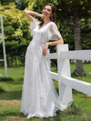 Romantic Shimmery V Neck Ruffle Sleeves Evening Gown-White 4