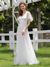 Romantic Shimmery V Neck Ruffle Sleeves Evening Gown-White 1