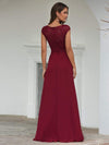 Women'S Cap Sleeve Long Bridesmaid Dresses With Floral Lace-Burgundy 2