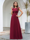 Women'S Cap Sleeve Long Bridesmaid Dresses With Floral Lace-Burgundy 3