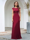 Women'S Cap Sleeve Long Bridesmaid Dresses With Floral Lace-Burgundy 4