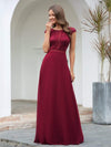 Women'S Cap Sleeve Long Bridesmaid Dresses With Floral Lace-Burgundy 1