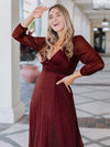 Women'S Sexy V-Neck Long Sleeve Evening Dress-Burgundy 6