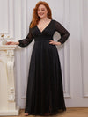 Plus Size Women'S Sexy V-Neck Long Sleeve Evening Dress-Black 1