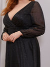 Plus Size Women'S Sexy V-Neck Long Sleeve Evening Dress-Black 5