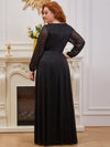 Plus Size Women'S Sexy V-Neck Long Sleeve Evening Dress-Black 2