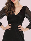 Women'S Sexy V-Neck Long Sleeve Evening Dress-Black 7