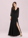 Women'S Sexy V-Neck Long Sleeve Evening Dress-Black 1