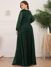 Plus Size Women'S Sexy V-Neck Long Sleeve Evening Dress-Dark Green 2