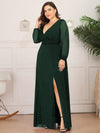 Plus Size Women'S Sexy V-Neck Long Sleeve Evening Dress-Dark Green 3