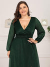 Plus Size Women'S Sexy V-Neck Long Sleeve Evening Dress-Dark Green 5