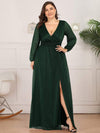Plus Size Women'S Sexy V-Neck Long Sleeve Evening Dress-Dark Green 1