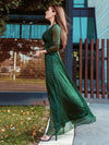 Women'S Sexy V-Neck Long Sleeve Evening Dress-Dark Green 2