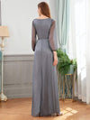 Women'S Sexy V-Neck Long Sleeve Evening Dress-Grey 2