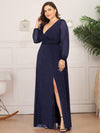 Plus Size Women'S Sexy V-Neck Long Sleeve Evening Dress-Navy Blue 3