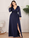 Plus Size Women'S Sexy V-Neck Long Sleeve Evening Dress-Navy Blue 4
