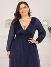 Plus Size Women'S Sexy V-Neck Long Sleeve Evening Dress-Navy Blue 5