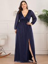 Plus Size Women'S Sexy V-Neck Long Sleeve Evening Dress-Navy Blue 1