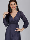 Women'S Sexy V-Neck Long Sleeve Evening Dress-Navy Blue 5