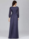 Women'S Sexy V-Neck Long Sleeve Evening Dress-Navy Blue 2