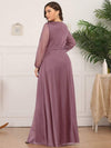 Women'S Sexy V-Neck Long Sleeve Evening Dress-Purple Orchid 2