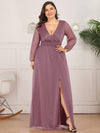 Women'S Sexy V-Neck Long Sleeve Evening Dress-Purple Orchid 3