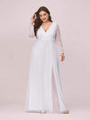 Women'S Sexy V-Neck Long Sleeve Evening Dress-White 1