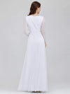 Women'S Sexy V-Neck Long Sleeve Evening Dress-White 2