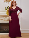 Sexy V Neck A-Line Plus Size Sequin Evening Dress With Sleeve-Burgundy 1