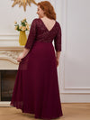Sexy V Neck A-Line Plus Size Sequin Evening Dress With Sleeve-Burgundy 2