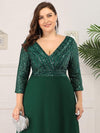 Sexy V Neck A-Line Plus Size Sequin Evening Dress With Sleeve-Dark Green 5
