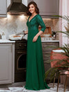 Sexy V Neck A-Line Sequin Evening Dress-Dark Green 9