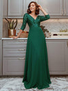 Sexy V Neck A-Line Sequin Evening Dress-Dark Green 1