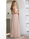 Fashion V Neckline A-Line Tulle Bridesmaid Dresses with Floral Appliques-2