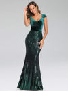 Fashion Mermaid Sequin & Velvet Prom Dresses For Women-Dark Green 4