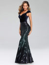 Fashion Mermaid Sequin & Velvet Prom Dresses For Women-Navy Blue 3