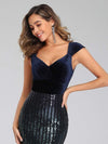 Fashion Mermaid Sequin & Velvet Prom Dresses For Women-Navy Blue 5