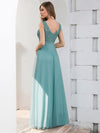 Double V Neckline Flowy Tulle Evening Dress With Sequin Stripes-Dusty Blue 2