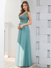 Double V Neckline Flowy Tulle Evening Dress With Sequin Stripes-Dusty Blue 3