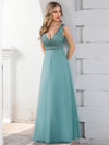 Double V Neckline Flowy Tulle Evening Dress With Sequin Stripes-Dusty Blue 4