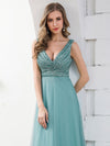 Double V Neckline Flowy Tulle Evening Dress With Sequin Stripes-Dusty Blue 5