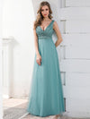 Double V Neckline Flowy Tulle Evening Dress With Sequin Stripes-Dusty Blue 1
