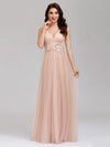 Elegant Deep Double V Neck Tulle Evening Dress With Appliques-Blush 6
